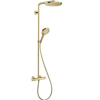 Душевая система Hansgrohe Raindance S 240 Showerpipe PowderRain 1jet с термостатом, polished gold optic (27633990)