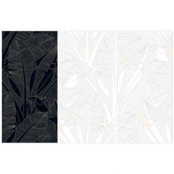 Керамогранит Fiandre Design your slabs Toucans Forest Black Gold Composizione Nature, 3 шт 300x150 Luc 6 мм (Y4U700D453006)
